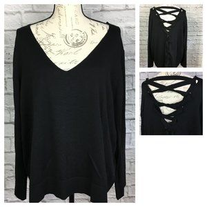 Rebel Wilson Lace Up Back Black Sweater NWT